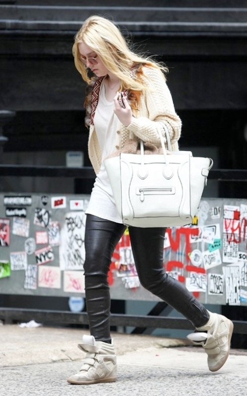 Dakota-Fanning-Celine-bag-Isabel-Marant-white-canvas-taupe-Suede-and-grey-Leather-Wedge-Sneakers  FameFlynet Pictures