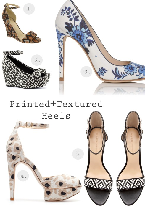 Heels with print and texture