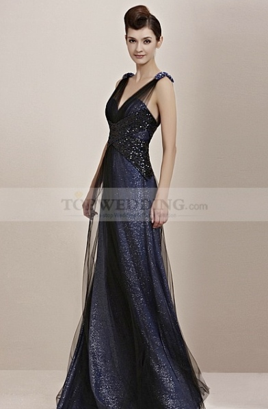Deep-V-Neck-Beaded-and-Sequined-A-Line-Evening-Dress-with-Tulle-Overlay-(2)